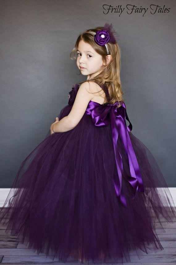 5335f743cc3 Plum Eggplant Flower Girl Dress Tutu Dress by FrillyFairyTales