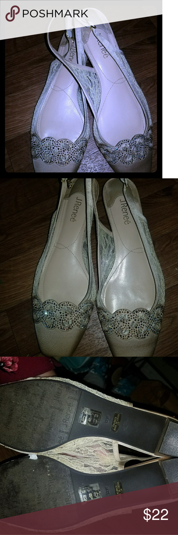 317cbc039b BRAND NEW J.RENEE Faleece Lace and Satin Slingback Faleece Lace and Satin  Slingback Block