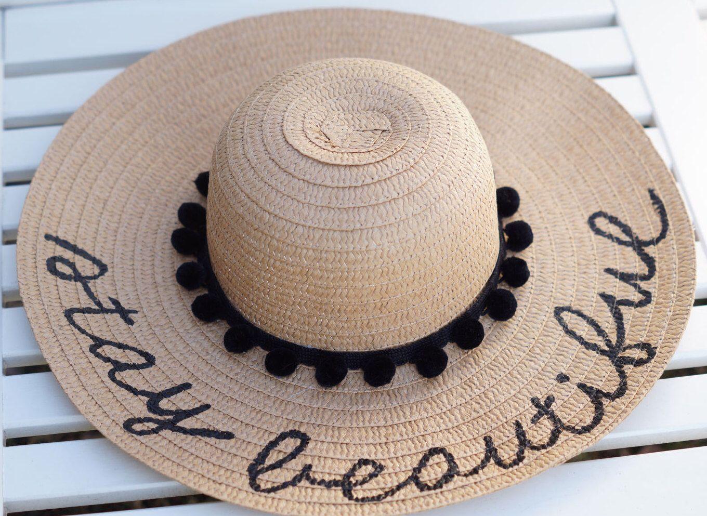 2eeb751152f0d Personalized custom sun floppy straw beach hat pom hand-painted Mrs. wedding  honeymoon bachelorette