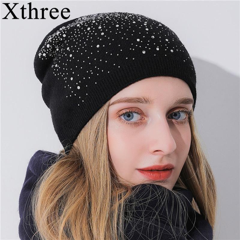 86148b8794d32 Xthree Winter Beanies Women Hat Knitted Skullies Wool Female Fashion C –  FuzWeb