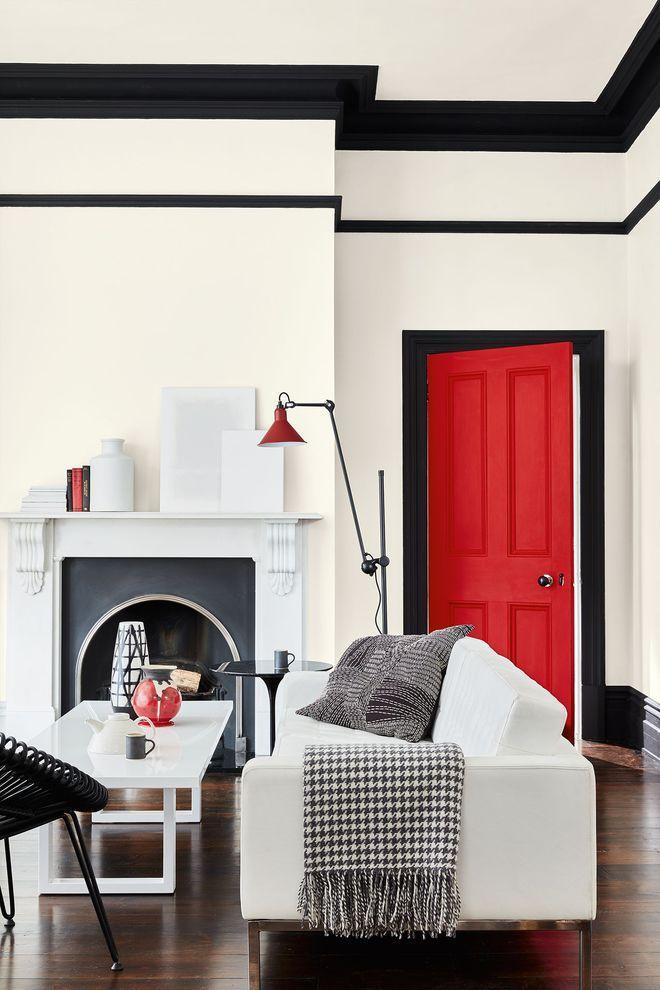 Une peinture rouge dans un salon contemporain | idee couleur chambre ...