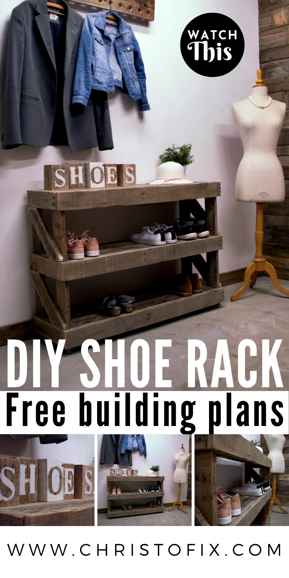 DIY shoe rack   free building plans#building #diy #free #plans #rack #shoe