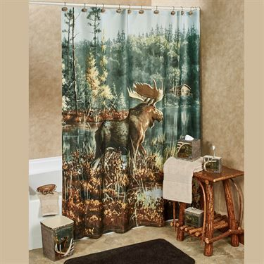 Hautman Brothers Back Bay Moose Shower Curtain Curtains Shower