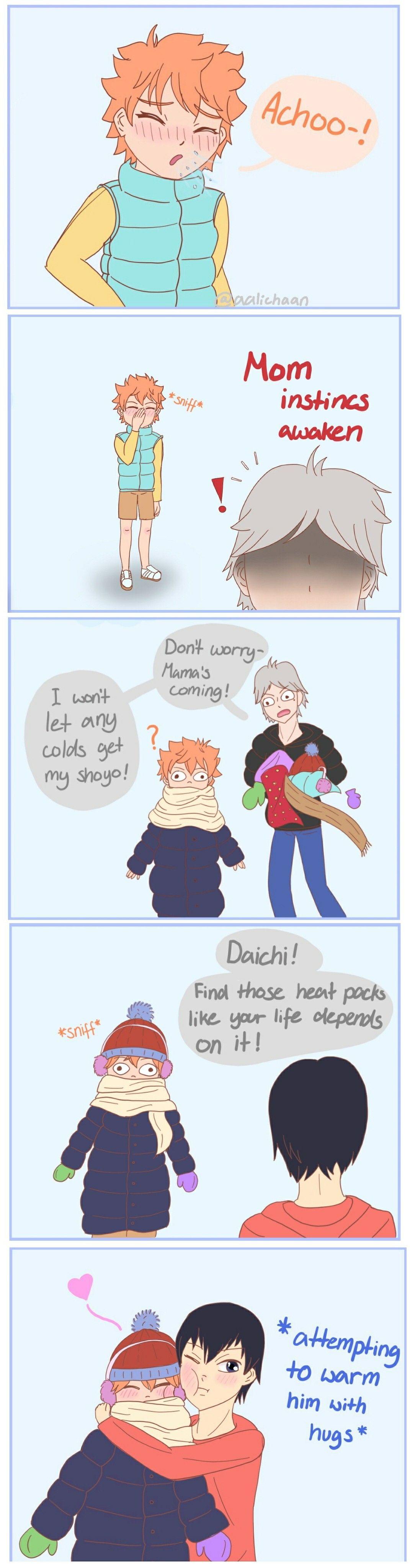 Warmth of Love #haikyuu #haikyuufanart #comic #manga #tumblr #kagehina #kageyama #hinata #sugawara #sawamura #anime #haikyuudoujinshi