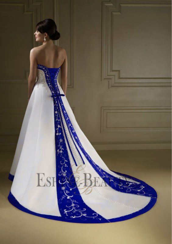 Vintage A Line Royal Blue And White Wedding Dresses Marine Wedding