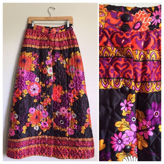 1970s Vintage Quilted Neon Floral Maxi Skirt by TrueHeartVintage
