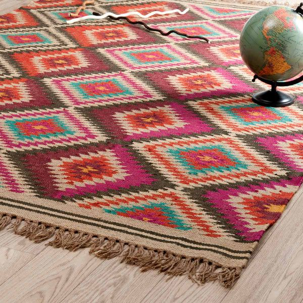 Flechtteppich aus Wolle, bunt, 140x200 Wolle, Teppiche und - teppich wohnzimmer bunt