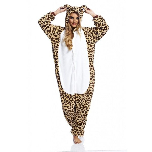 AX Paris Leopard Onesie ($22) ❤ liked on Polyvore featuring intimates, sleepwear, leopard print sleepwear and ax paris
