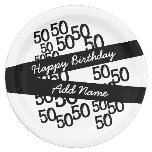 Personalized Funky Black White 50th Birthday Paper Plate | Black Birthday Party | Pinterest | Birthdays and Black  sc 1 st  Pinterest & Personalized Funky Black White 50th Birthday Paper Plate | Black ...