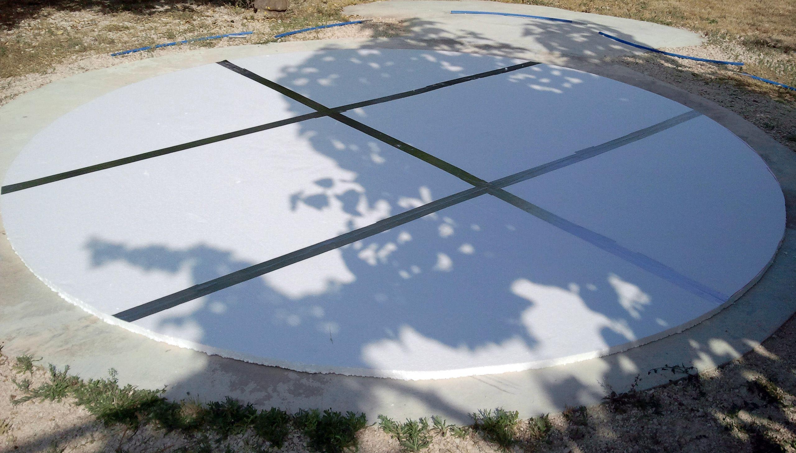 Preparación De La Base De La Piscina Desmontable Solera De Hormigón De 15cm Planchas De Poliestireno Corcho Blanco Piscina Solera De Hormigon Piscinas