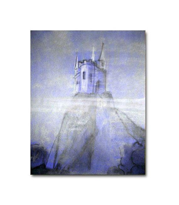 magical blue castle art print for baby girl nursery decor fairytale castle wall art - Blue Castle Decor