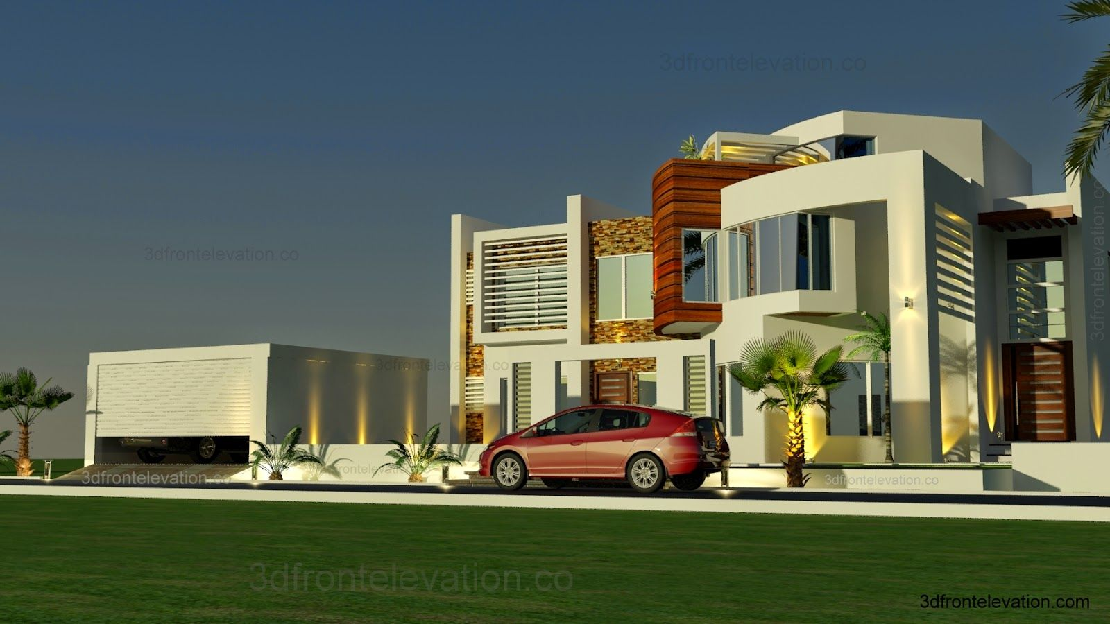 3d front elevation com oman modern contemporary villa 3d front elevation 2015