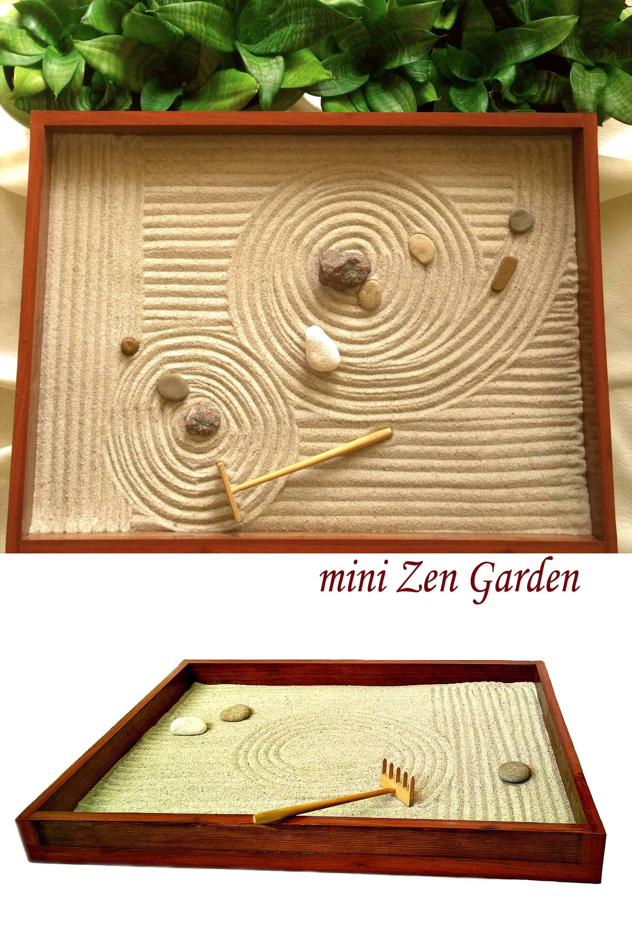 Natural Wood Handmade Zen Garden Perfect Decorative Iteam For Home Or Office Rakes Stones And Sand Are Also Incl Zen Garden Meditation Gifts Mini Zen Garden