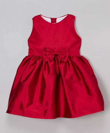 Look what I found on #zulily! Red Taffeta Bow Dress - Infant & Toddler #zulilyfinds