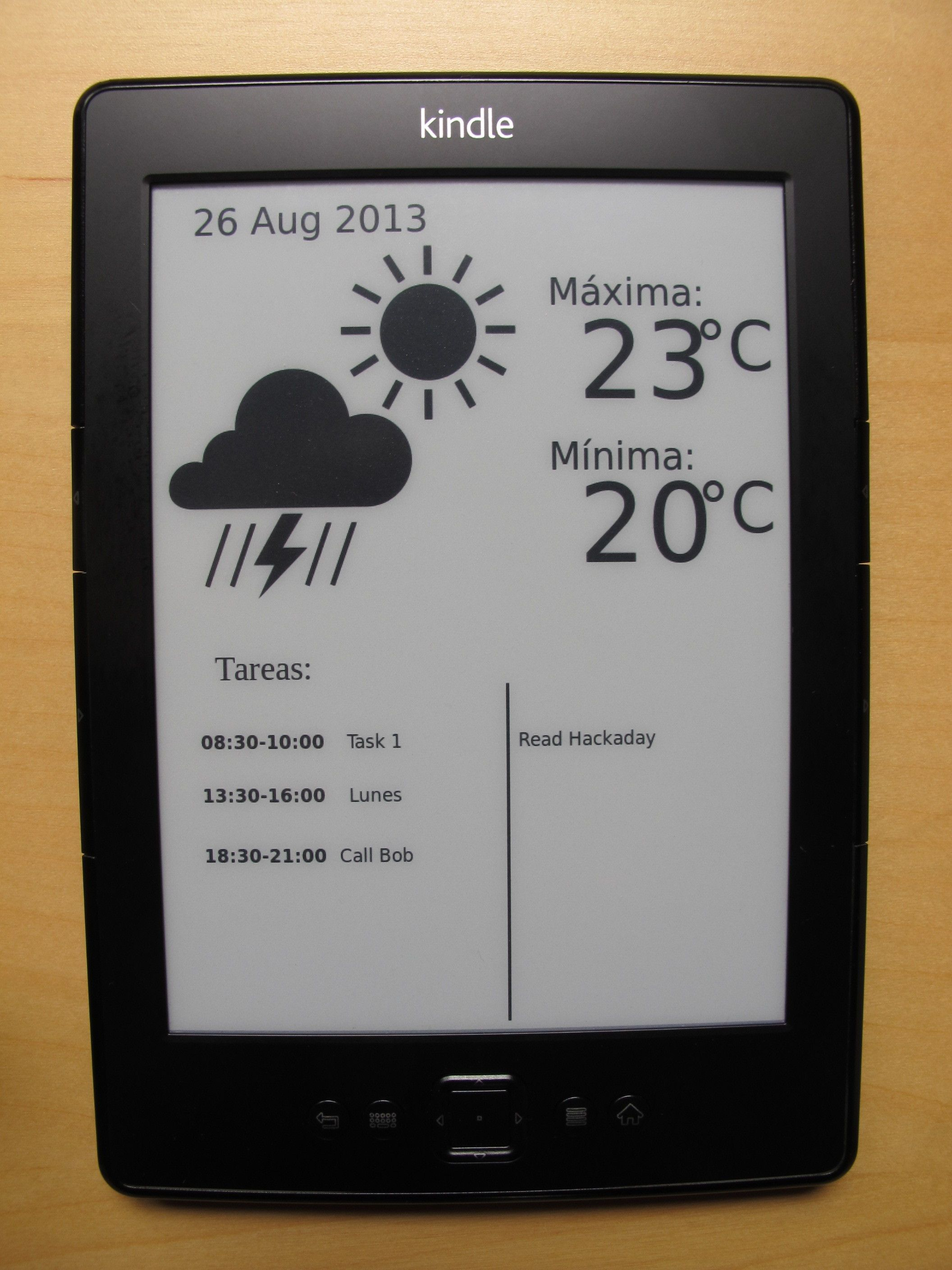 Create A Custom Kindle Wallpaper Fetching The Information From Yahoo Weather And Your Google Calendar