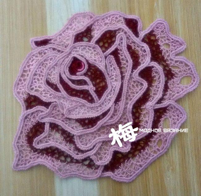 Красивая роза при помощи шнура гусенички - Crochet Modnoe Vyazanie ...