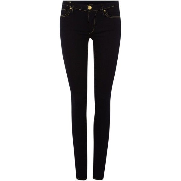 True Religion Halle mid rise super skinny jean in body rinse (€135) ❤ liked on Polyvore featuring jeans, pants, bottoms, april hammerstein, black, clearance, denim dark wash, mid-rise jeans, super stretchy skinny jeans and stretch skinny jeans