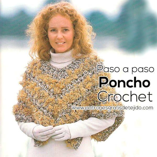 Crochet y Dos agujas: Poncho Crochet para Nosotras / Paso a paso ...