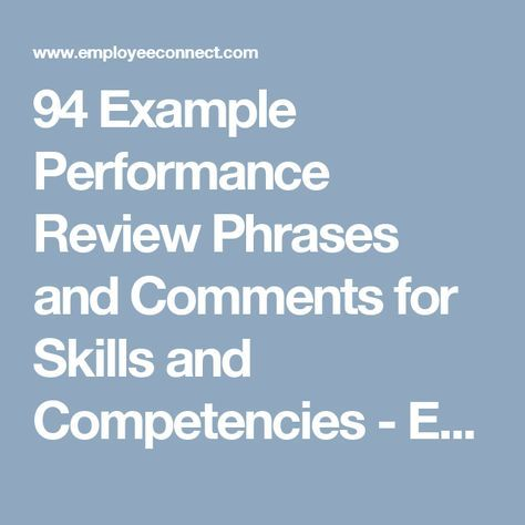 Example Performance Review Phrases And Comments For Skills And