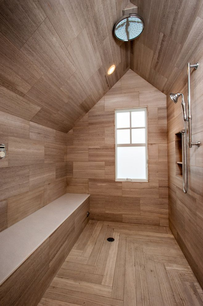 enjoyable wood look ceramic floor tile with window next to rain shower head alongside with niche