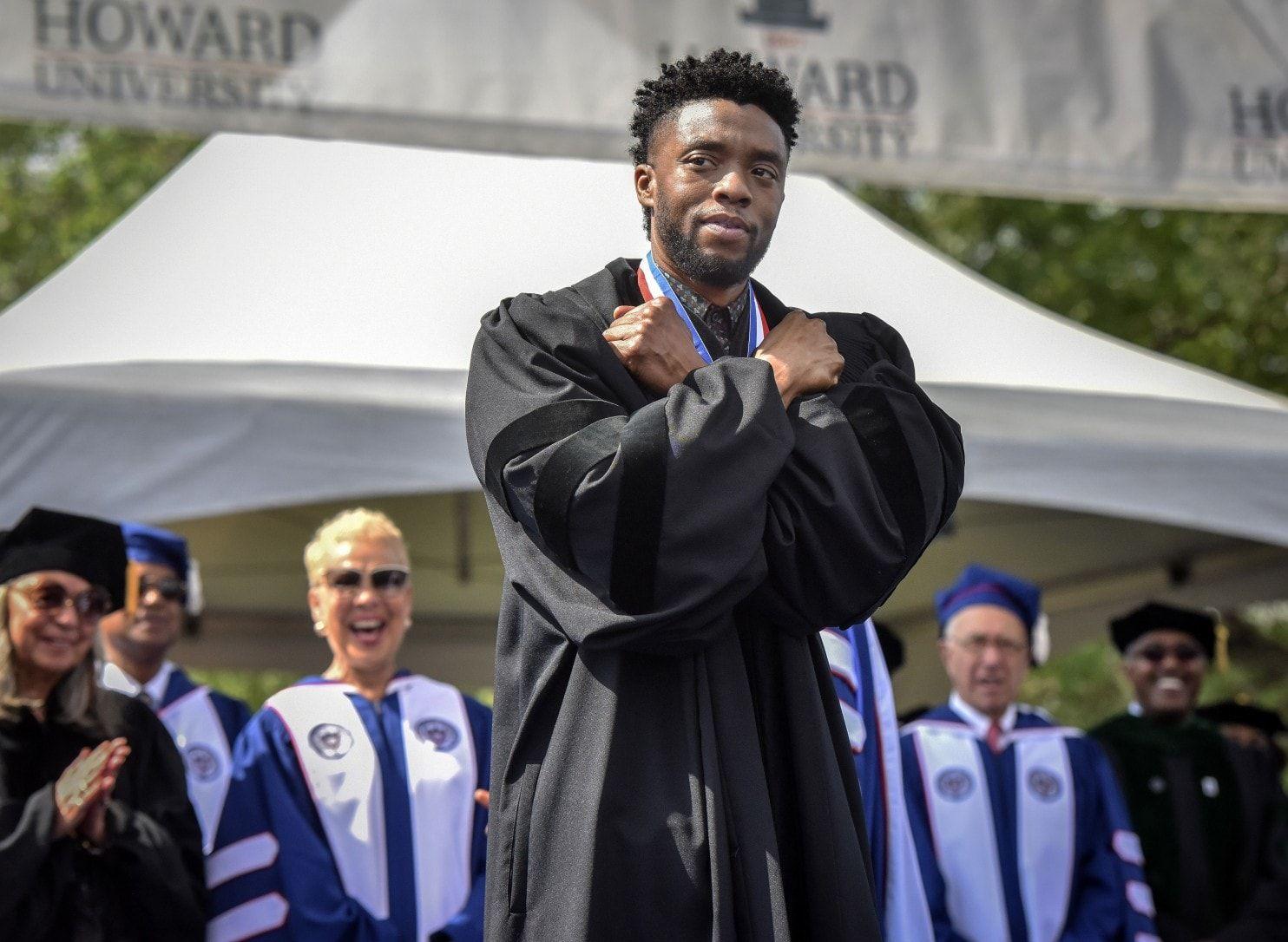 The actor Chadwick Boseman delivered remarks at Howard, his alma mater.