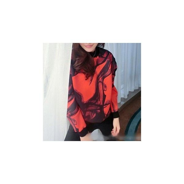 Long-Sleeve Printed Pullover (160 NOK) ❤ liked on Polyvore featuring tops, hoodies, sweatshirts, sweatshirt, women, red sweatshirt, long sleeve cotton tops, long sleeve sweatshirt, red long sleeve top and long sleeve pullover