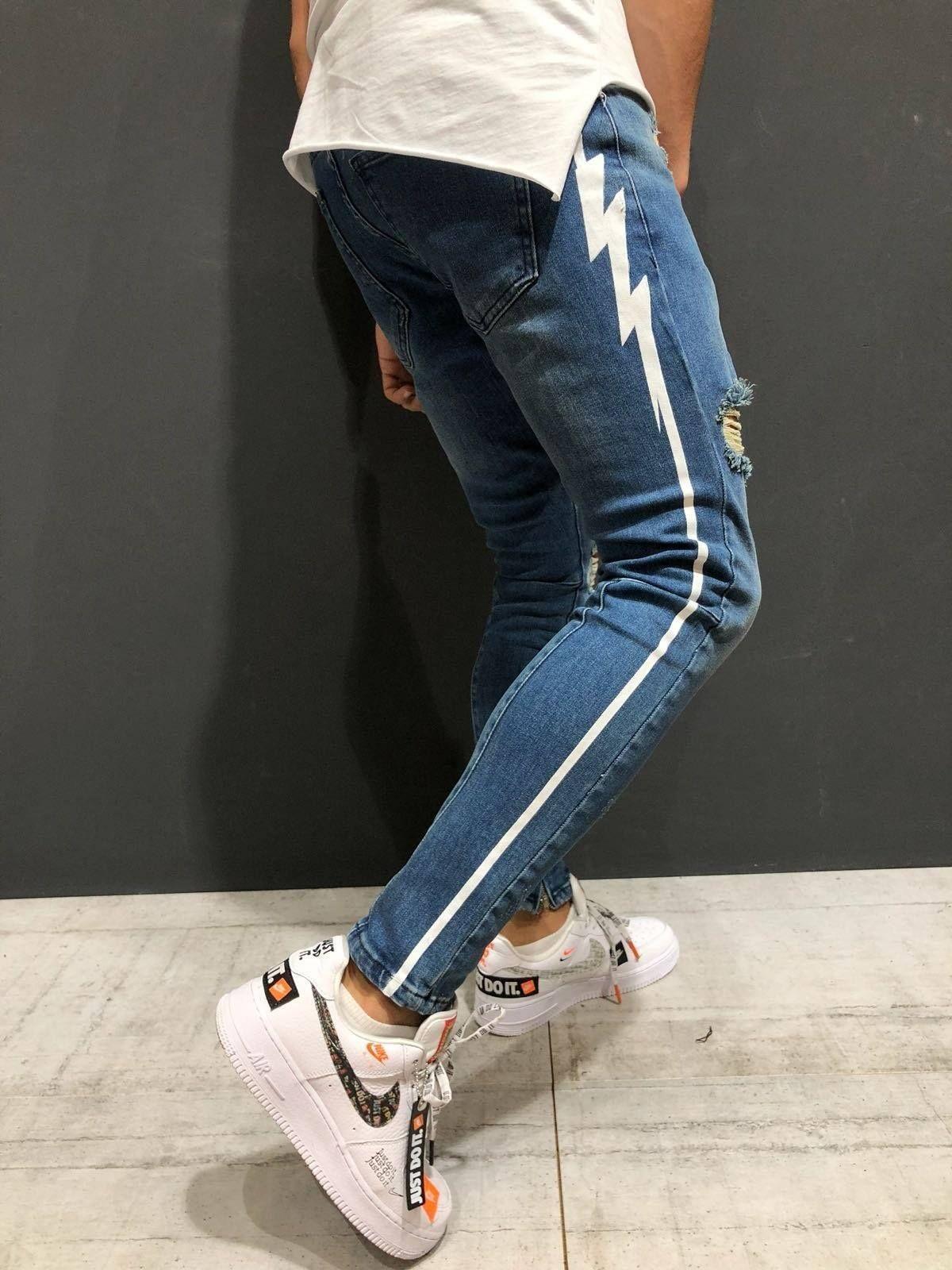 Skinny Ripped Jeans Ankle Zipper | Streetwear jeans, Ripped