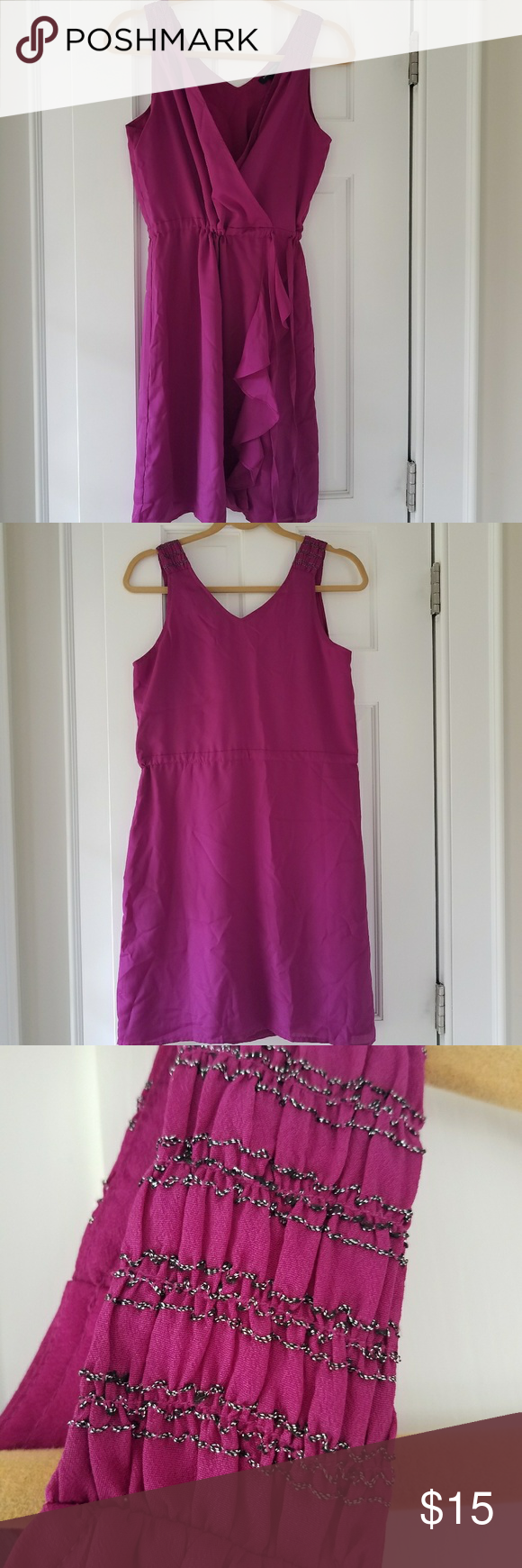 EUC Banana Republic Tank dress Super easy, cinch style. Can ne kept loose or cinched for tighter waist. Small detail on shoulders.  Ruffle front of skirt bottom.  Nice Fuscia color. Banana Republic Dresses Midi