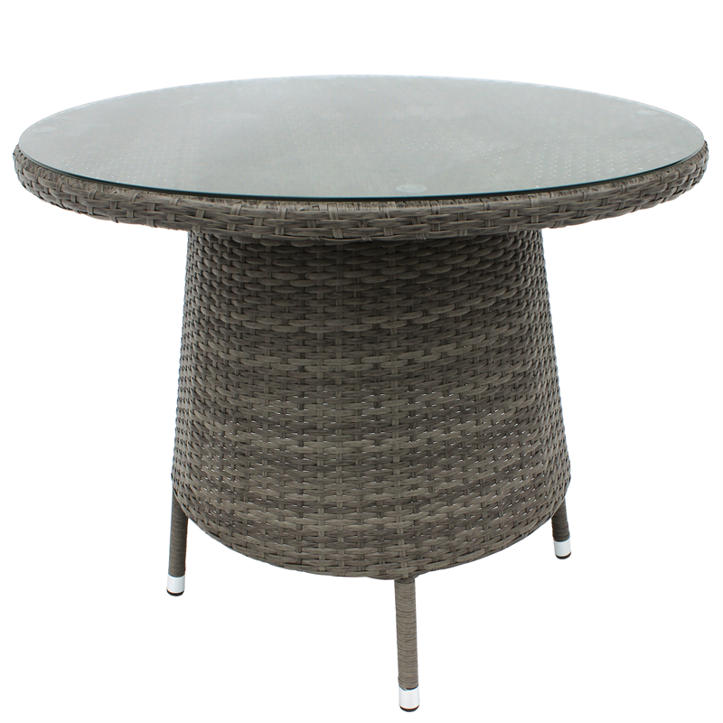Find Mimosa 90cm Waiheke Round Glasstop Wicker Table at