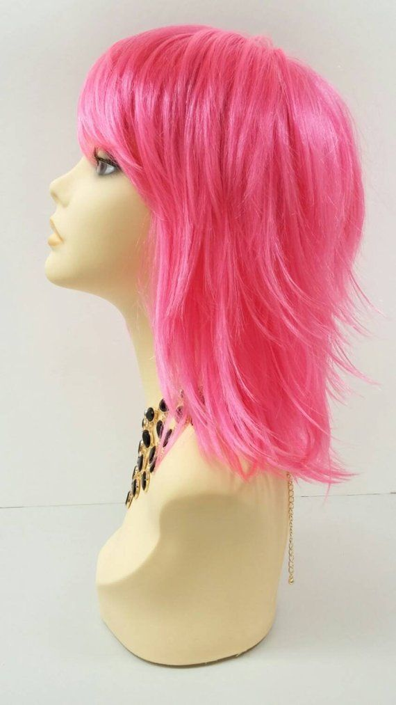 Smash / Hot Pink / Long Curly Layered Wig Neon Bright by