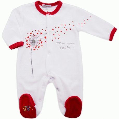 67efb63af5110 Pyjama bébé mixte en velours blanc rouge Mon vœu c est toi ! Les Chatounets