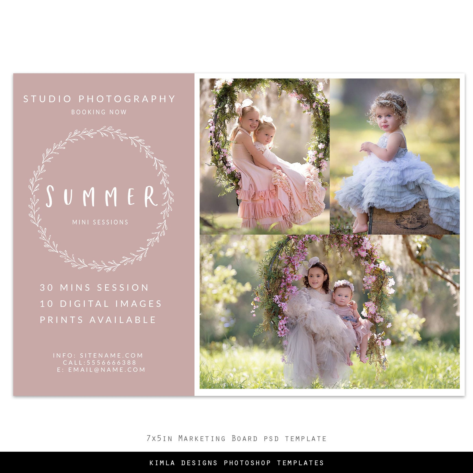7x5in Photography Marketing Board Psd Template Summer 7x5in