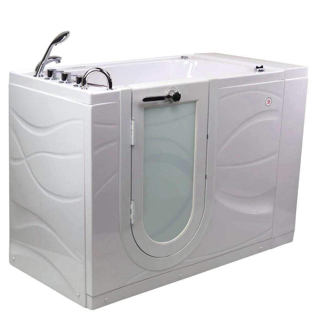 Ella Zen 52 In Walk In Whirlpool And Air Bath Bathtub In White