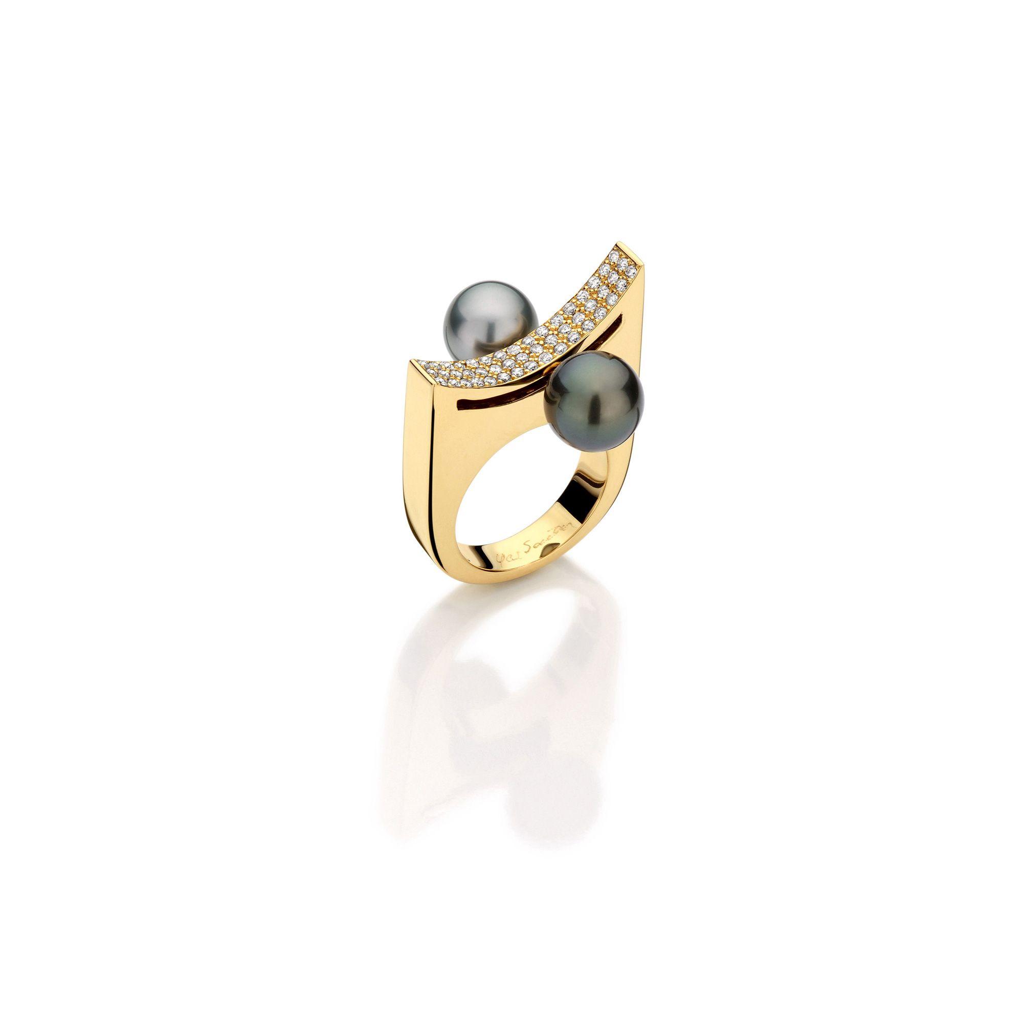 Curve ring Yael Sonia Designer 18K yellow gold tahitian pearls
