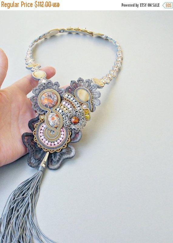 ON SALE Boho long necklace. Glamour soutache by Soutachebypanka