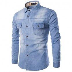 Camisa Jeans lavado Azul claro Jaqueta Masculina Casual Esportiva Elegante Manga  Longa Mens Clothing Styles ed6c55a1a38