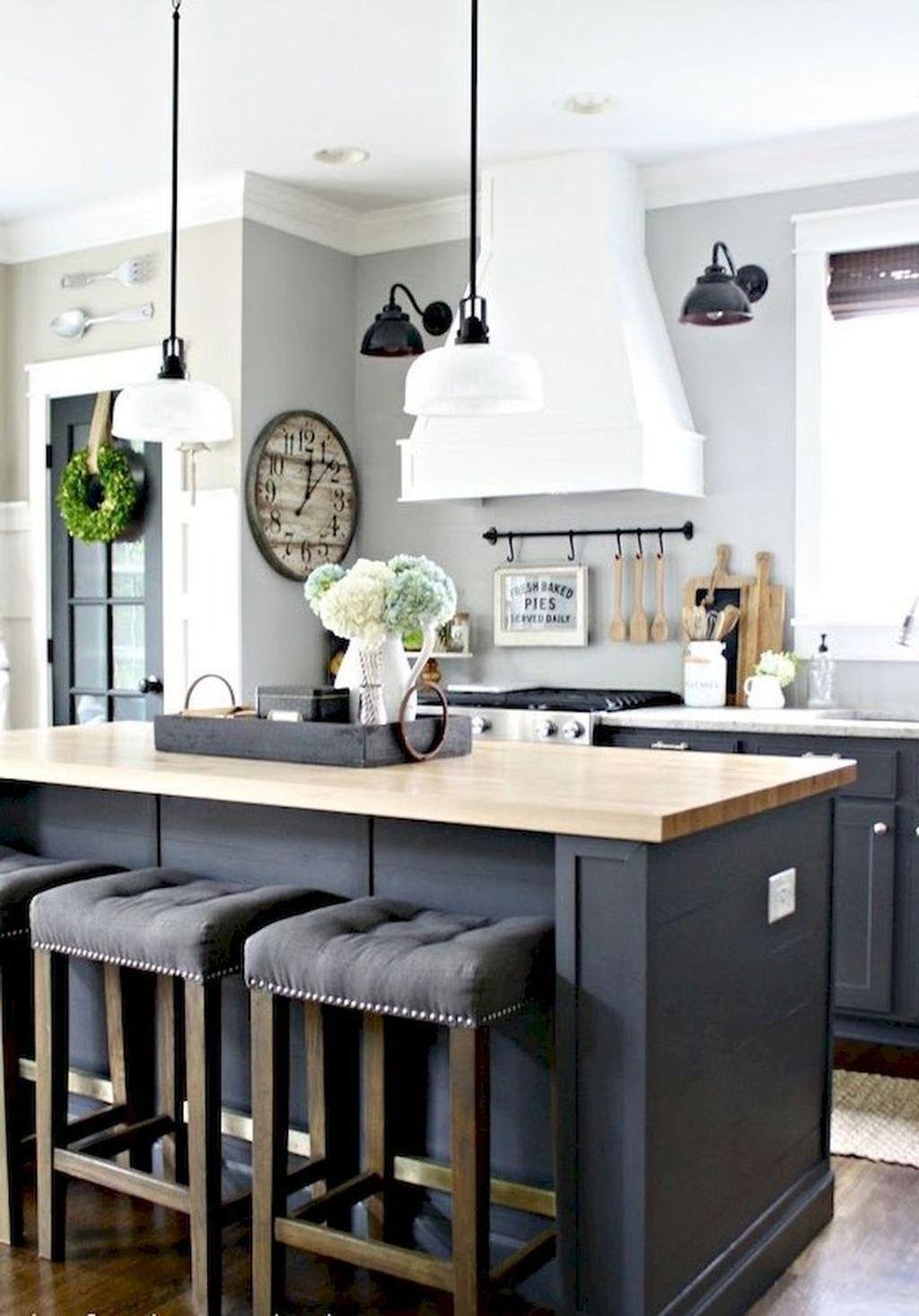 38 Gorgeous Farmhouse Kitchen Island Decor Ideas Popy Home Diy Kitchen Renovation Modern Farmhouse Kitchens Kitchen Cabinet Design