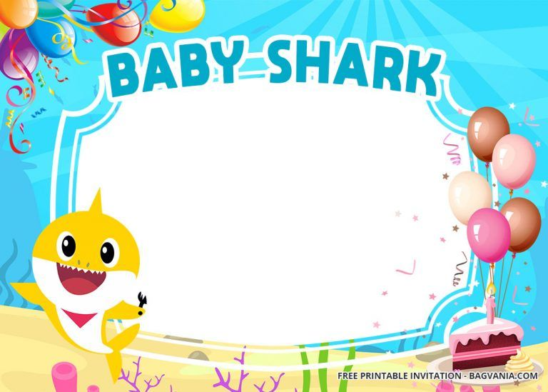 free baby shark baby shower invitation