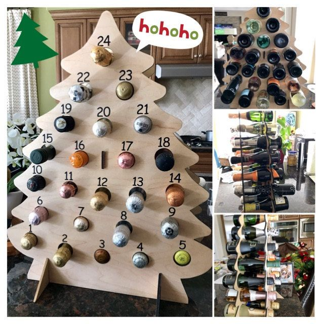 DIGITAL PLANS - Christmas Tree Wine Advent Calendar for Mini Bottles of Wine, Bubbly, Cider, SHOTS, and more!