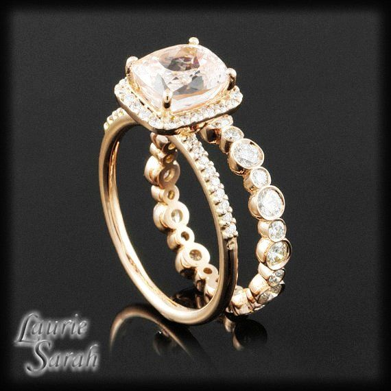 Light Morganite Colored Pink Shire Engagement Ring With Diamond Halo And Bezel Set Eternity Band