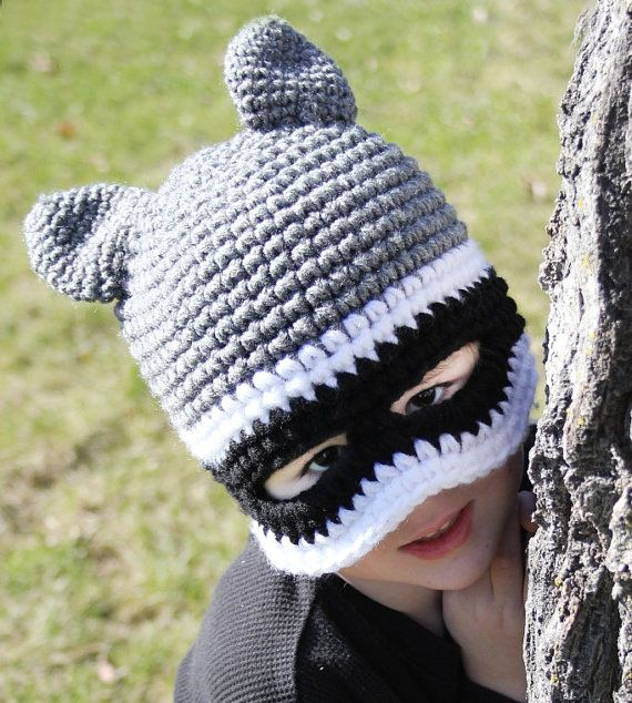 62a5289915d Raccoon Mask Hat with Tail by LittleLidsForKids on Etsy - I thought it was  batman lol