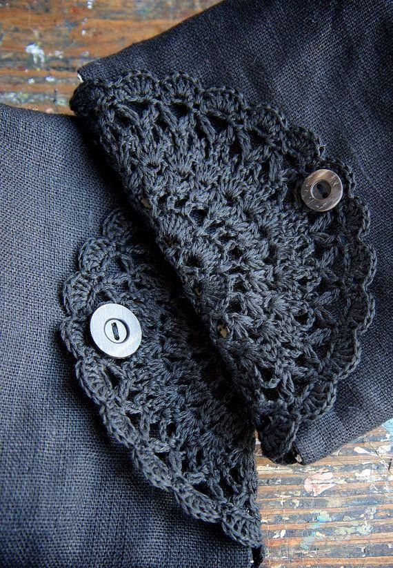 Linen clutch, pouch, purse, makeup bag -- crocheted detail closure ...