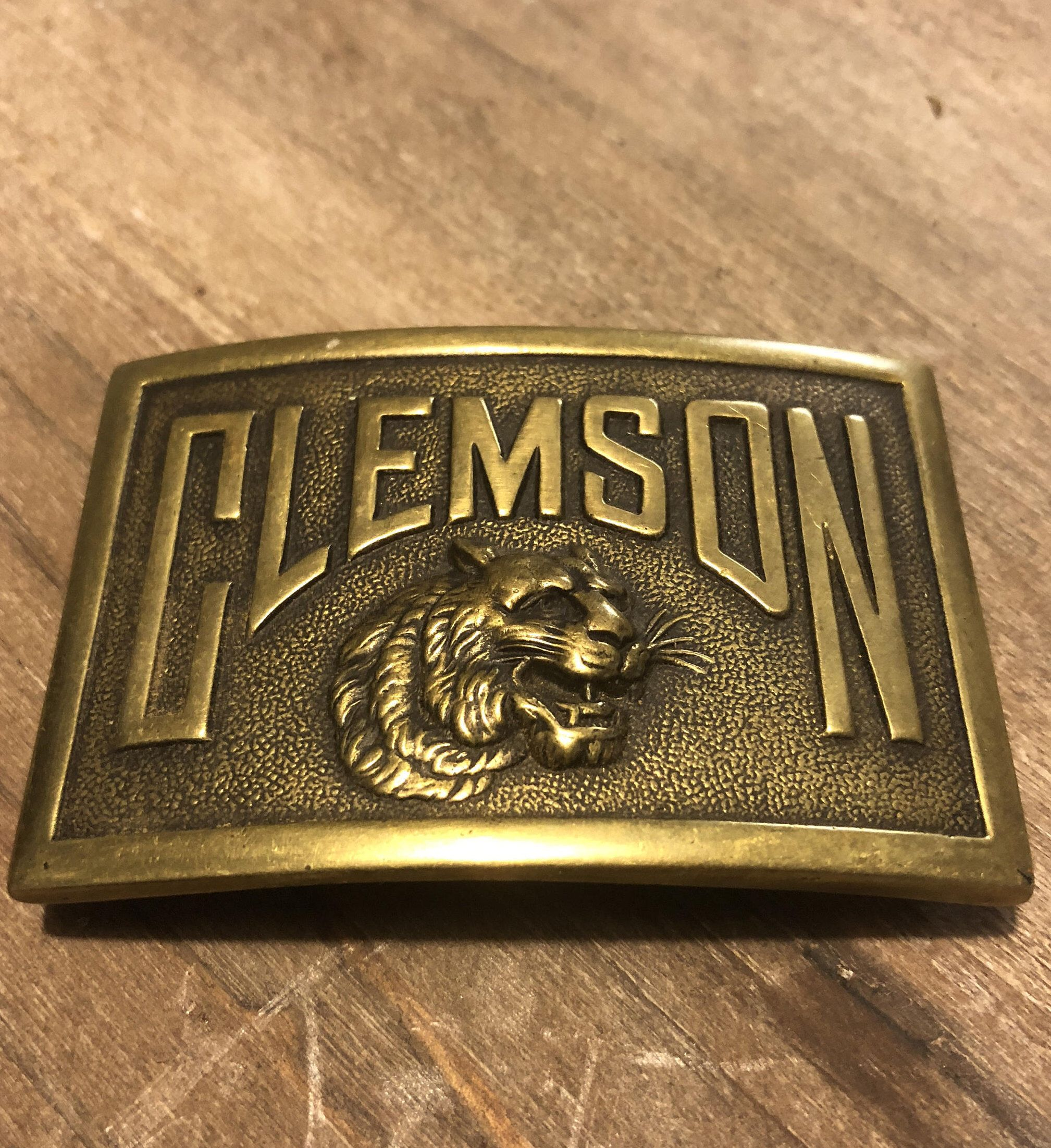 Vintage Clemson University Brass Belt Buckle FREE SHIPPING! by  CottonBranchMarket on Etsy https   b242095466c