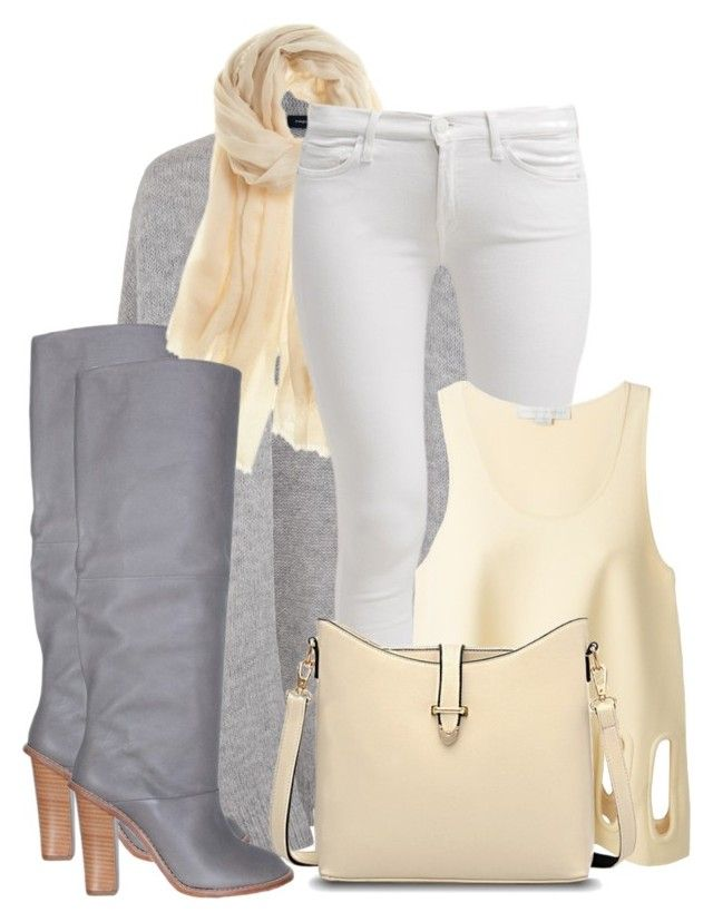 """""""Grey Cardigan"""" by bliznec ❤ liked on Polyvore featuring French Connection, TIBI, Calypso St. Barth, 7 For All Mankind and STELLA McCARTNEY"""