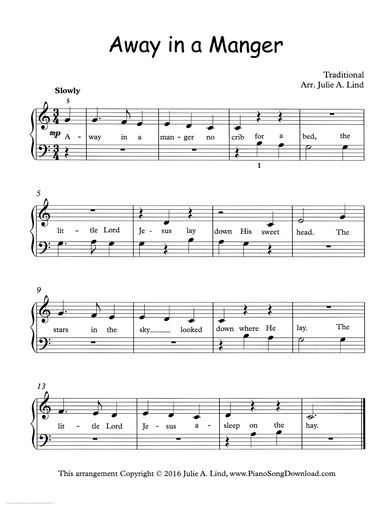 Away In A Manger Free Printable Christmas Piano Sheet Music For