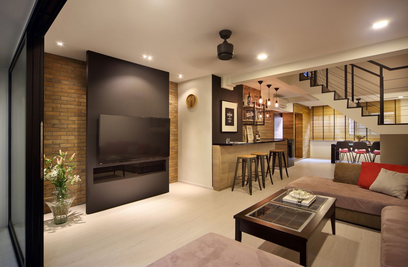 Pin By Peck Tan On Hdb Maisonettes Em Pinterest Red Brick Walls Modern Interiors And