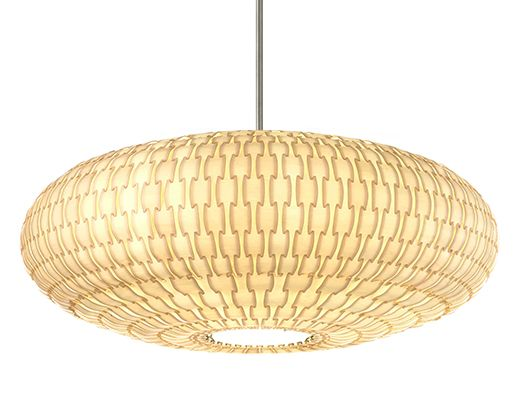 Basket Saucer Suspension composed of2-ply wood veneer with a poly core lamination and surface coating. Available in aspen or birch shade options. Fixture offered in 24 or 30 inch width options. Two/Three 60 watt, 120 volt, medium base incandescent bulbs are required, but not included. All sizes are compatible with compact fluorescent lamps. Small: 24 inch width x 11 inch height.  Medium: 30 inch width x 11 inch height.<br />