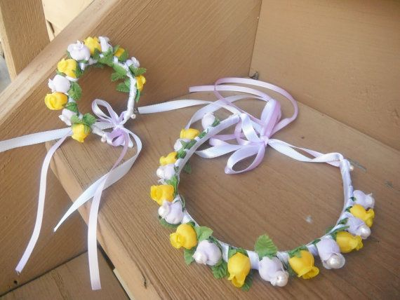 Yellow and White Flower Girl Hair Wristlet Duo by AngelicasBridal, $45.00