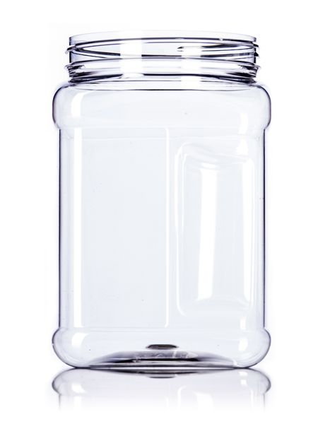 64 Oz Clear Pet Plastic Square Grip Container With 110 400 Neck Finish Plastic Jars Jar Container