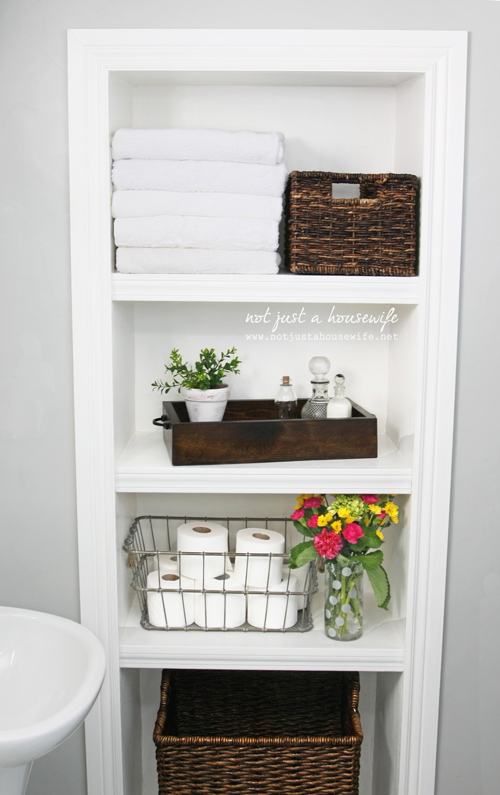 Small House Tour {Day 1 Shelves, Small bathroom storage